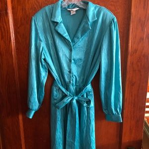 Vintage teal collared dress